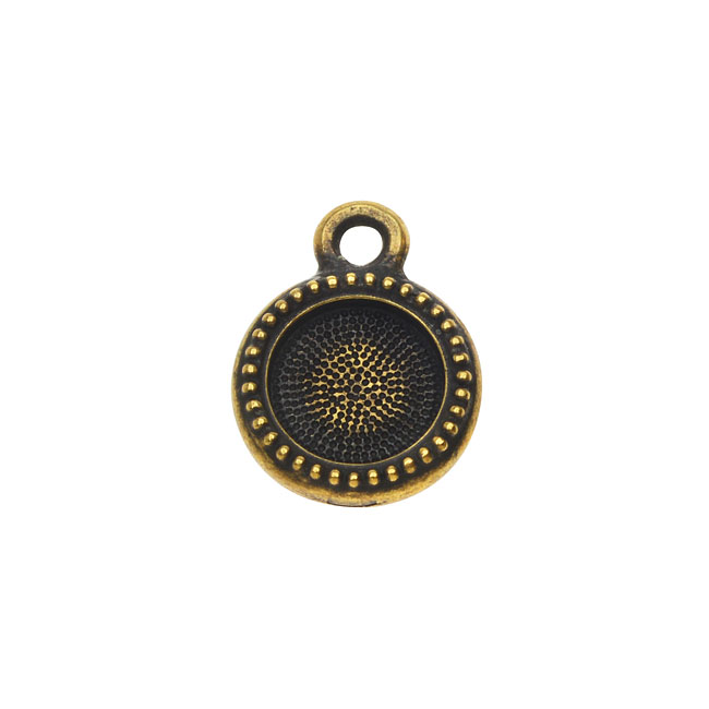 TierraCast Pewter 7mm ss34 Bezel Charm, Round Beaded Edge 13.5mm, 1 Piece, Brass Oxide Finish