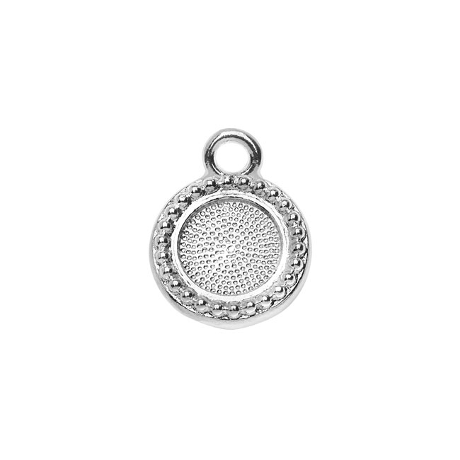 Final Sale - TierraCast Pewter 7mm ss34 Bezel Charm, Round Beaded Edge 13.5mm, 1 Piece, Silver Plated