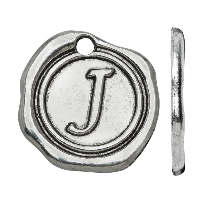 Final Sale - Lead-Free Pewter, Alphabet Charm Wax Seal Letter 'J' 18.5x19.5mm, 1 Piece, Antiqued Silver