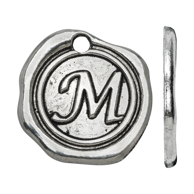 Final Sale - Lead-Free Pewter, Alphabet Charm Wax Seal Letter 'M' 18.5x19.5mm, 1 Piece, Antiqued Silver