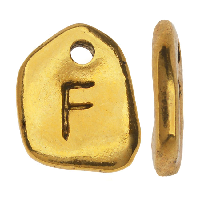 Final Sale - Gold Plated Lead-Free Pewter, Pebble Alphabet Charms Letter 'F' 8x10mm, 10 Pieces, Antiqued Gold