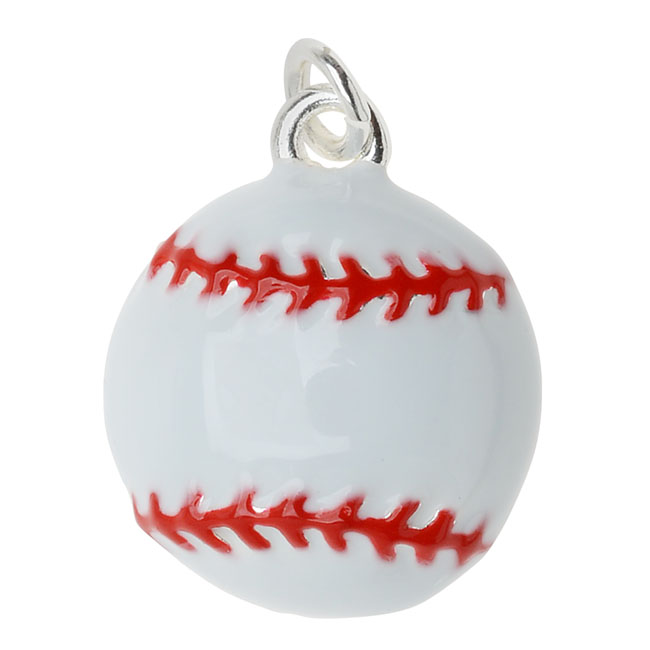 Final Sale - Silver Plated and Enameled Charm, Baseball 16.8x14x5mm, 1 Piece, White and Red