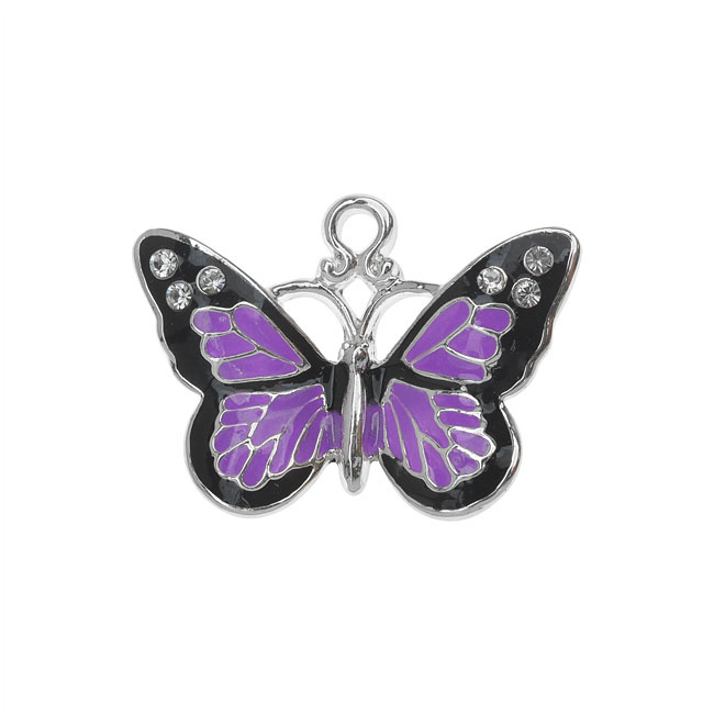 Silver Plated and Enameled Charm, Monarch w/Swarovski Crystals AB, 1 Pc, Purple
