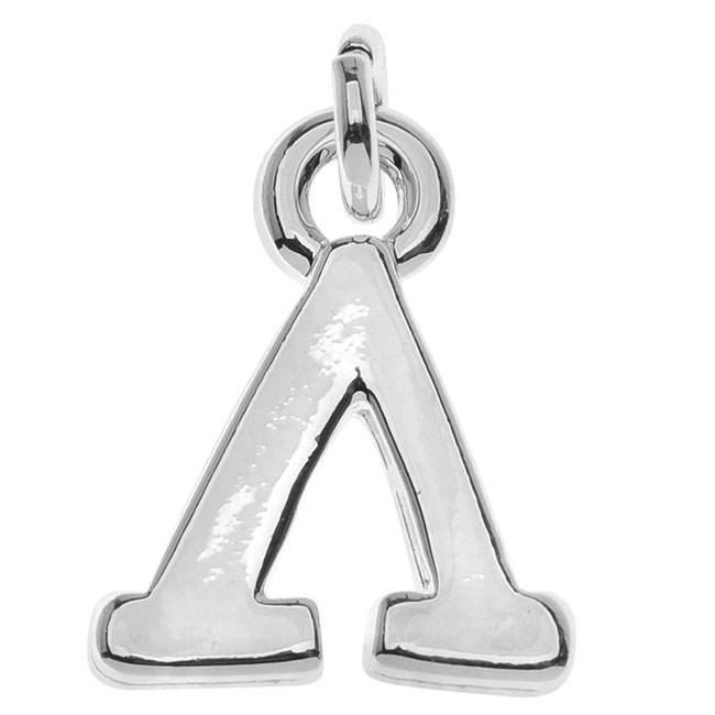 Final Sale - Silver Plated Lightweight Charm, Small Greek Letter Lambda 12x9.4x1.8mm, 1 Piece, Silver