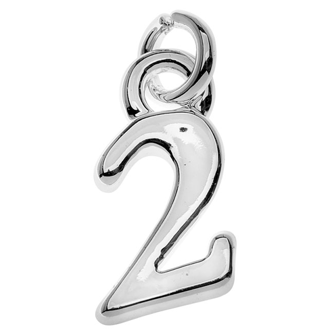 Final Sale - Silver Plated Charm, Small Number 2 10.8x6x1.5mm, 1 Piece, Silver