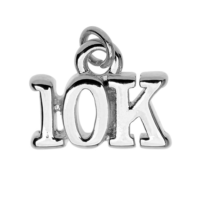 Final Sale - Silver Plated Charm, 10K Run 13.1x10.5x2.6mm, 1 Piece, Silver