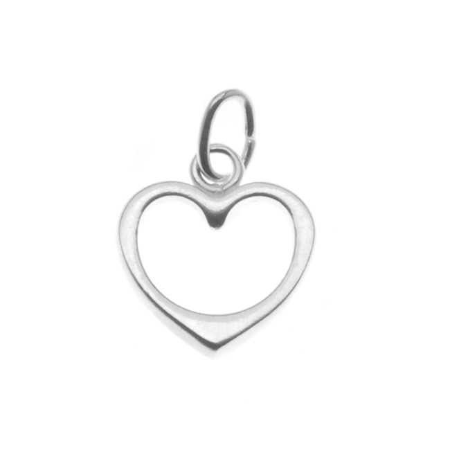 Sterling Silver Charm Sleek Open Heart 10mm