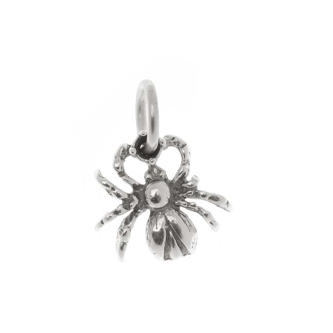 Final Sale - Sterling Silver Charm, Creep Crawly Spider 12mm, 1 Piece, Antiqued Silver