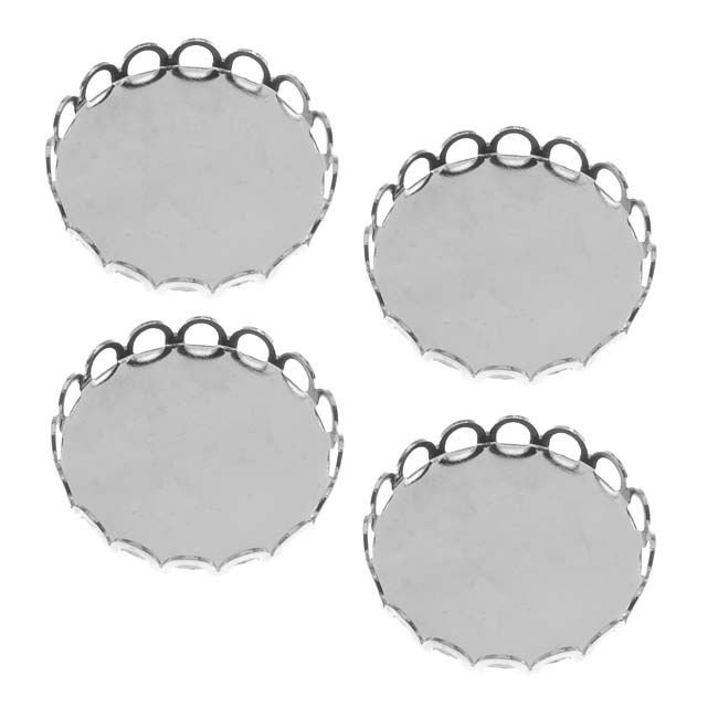 Bright Silver Tone Round Bezel Cup Cabochon Setting 19mm (4)