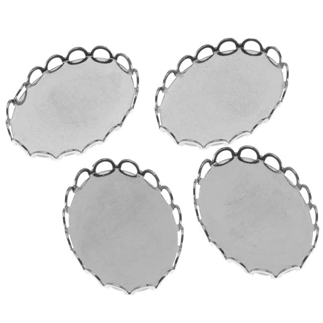 Bright Silver Tone Oval Bezel Cup Cabochon Setting 26x19mm (4)