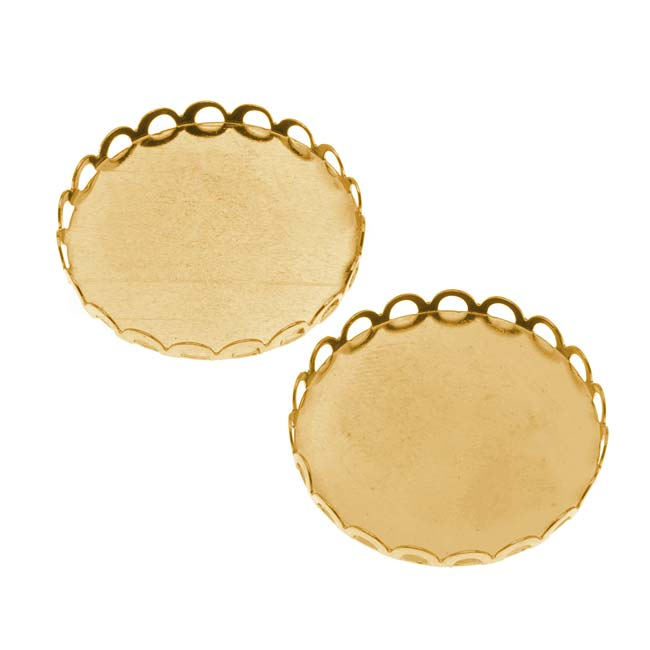 Gold Tone Round Bezel Cup Cabochon Setting 26mm (2)