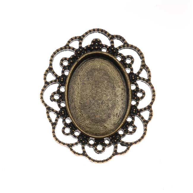 Antiqued Brass Oval Cabochon Setting 42x35mm (1)
