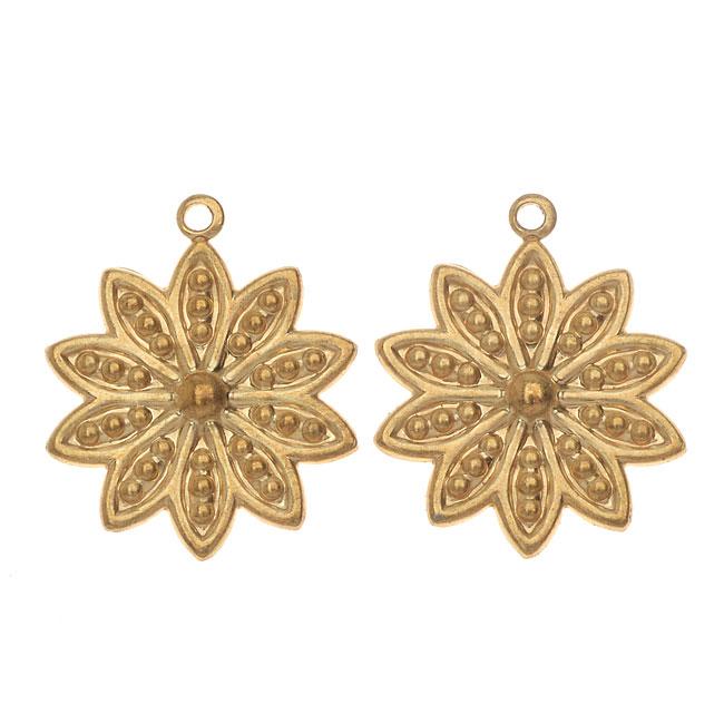 Vintaj Vogue Pendants, Beaded Daisy Petals 19x16mm, 2 Pieces, Raw Brass