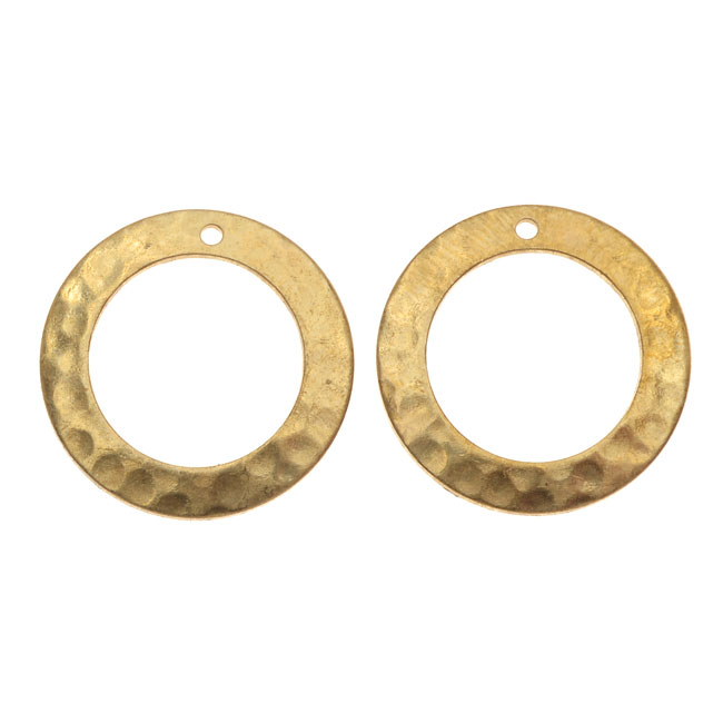 Vintaj Vogue Pendants, Tiny Hammered Ring 19mm, 2 Pieces, Raw Brass