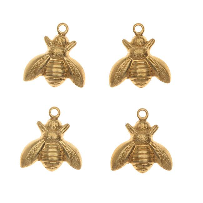 Vintaj Vogue Decorative Charms, Bumble Bee 13x12mm, 4 Pieces, Raw Brass