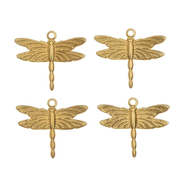 Vintaj Vogue Decorative Charms, Petite Dragonfly 13x15mm, 4 Pieces, Raw Brass