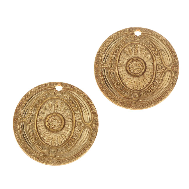 Vintaj Vogue Decorative Charms, Ancient Coin 16mm, 2 Pieces, Raw Brass
