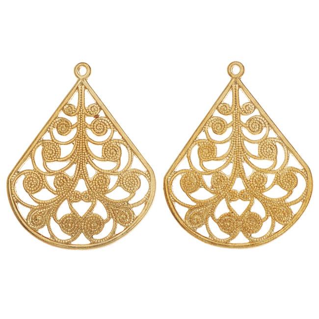 Vintaj Vogue Pendants, Filigree Flourished Fan 28.5x22mm, 2 Pieces, Raw Brass