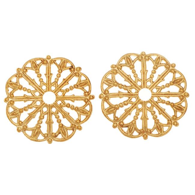Vintaj Vogue Embellishments, Filigree Medallion 17.5mm, 2 Pieces, Raw Brass