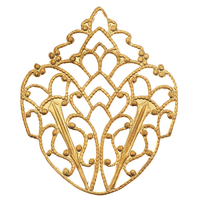 Vintaj Vogue Embellishments, Delicate Filigree Crest 33x28mm, 1 Piece, Raw Brass