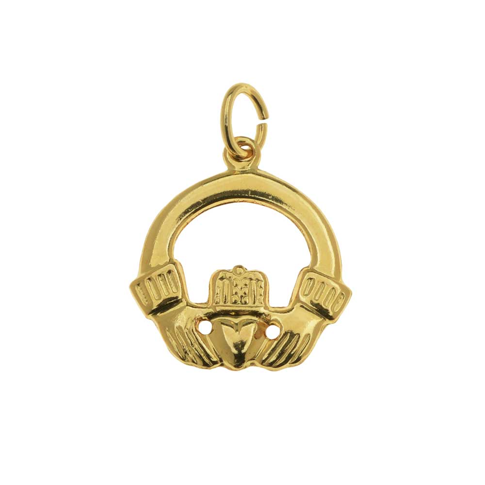 Final Sale - 14K Gold Filled Charm, 1-Sided Celtic Claddagh with Jump Ring 15.5x14.3mm, 1 Piece