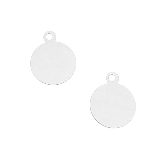 Final Sale - Silver Filled Stamping Blank, Circle With Loop 14mm, 2 Pieces, Silver