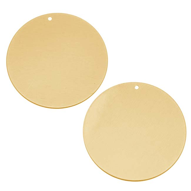Solid Brass Blank Stamping 'Round Disk' Tag Pendant 26mm (2)