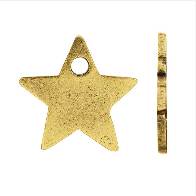 Nunn Design Flat Tag Charm, Star 13.5mm, Antiqued Gold Plated