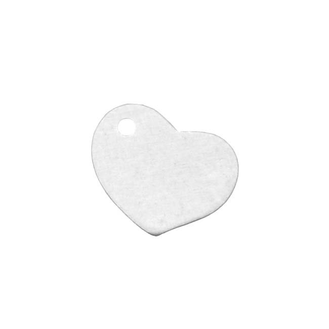 Sterling Silver Blank Stampings Tilted Heart Charms 10mm (2)
