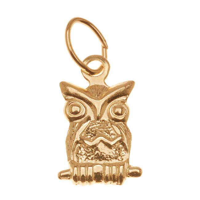 14K Gold Filled Charm, Perched Owl with Jump Ring 11mm, 1 Piece