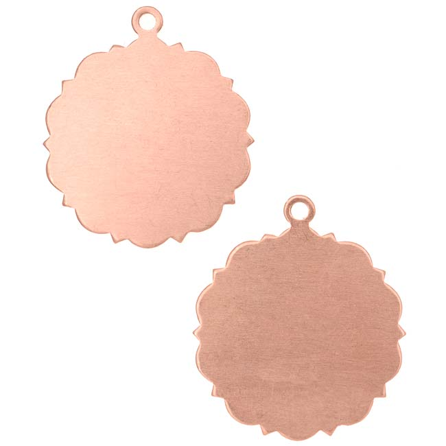 Final Sale - Solid Copper Round Stamping Blank Pendants With Scroll Edge 22mm (2)