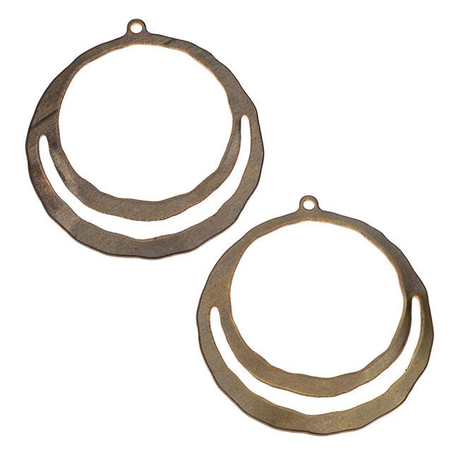 Vintaj Natural Brass, Wandering Pathway Split Ring Hoop Earring 32mm, 2 Pieces