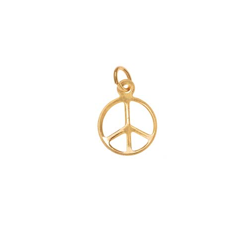 14K Gold Filled Sleek Peace Sign Charm Pendant 14mm (1)