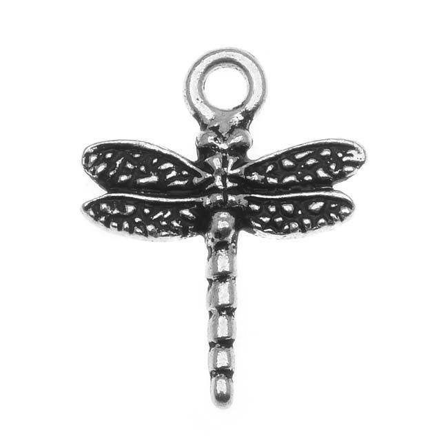 TierraCast Fine Silver Plated Pewter Dragonfly Charm 21mm (1)
