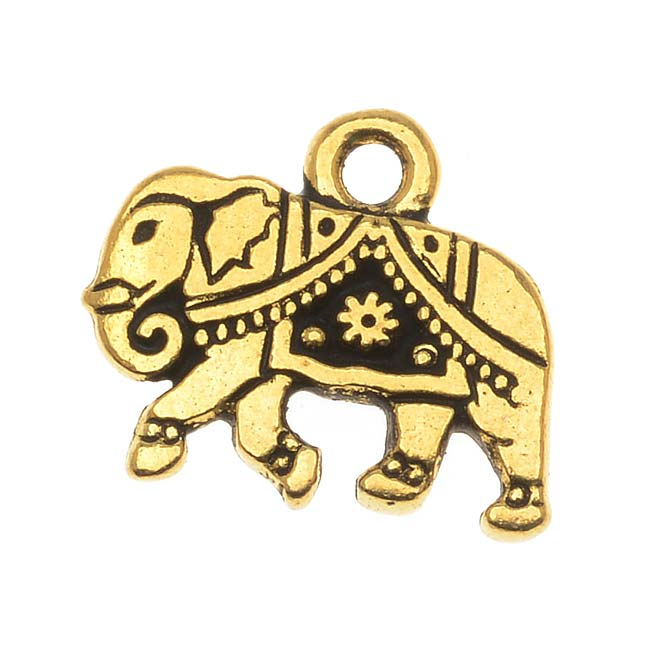 TierraCast 22K Gold Plated Pewter Indian Elephant Charm 12mm (1)