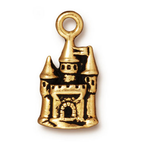 Final Sale - TierraCast 22K Gold Plated Pewter Fairy Castle Charm 21mm (1)
