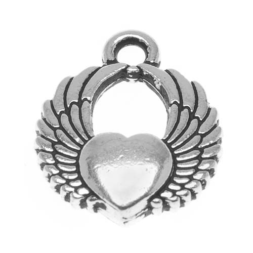 TierraCast Fine Silver Plated Pewter Winged Heart Charm 17.5mm (1)