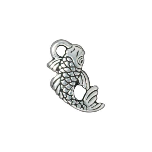 TierraCast Fine Silver Plated Pewter Koi Japanese Fish Charm 17mm (1)
