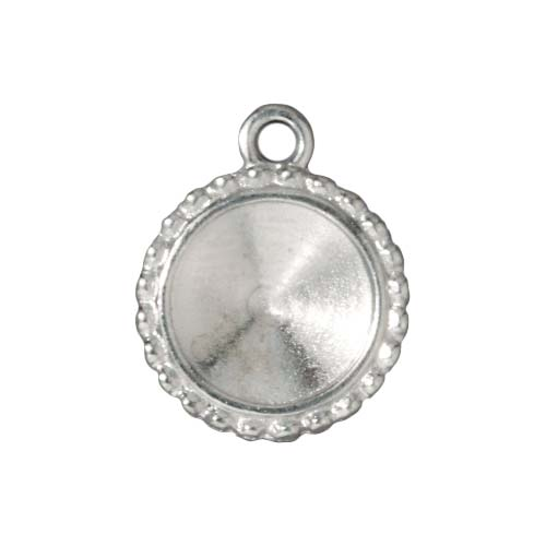 Rhodium Plated Beaded Edge Bezel Pendant For Swarovski Crystal 12mm Rivoli (1)