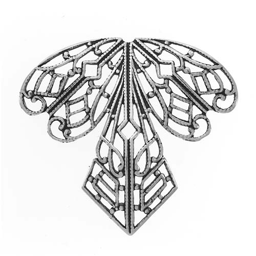 Antiqued Silver Plated Filigree Stamping Angel or Orchid 38mm