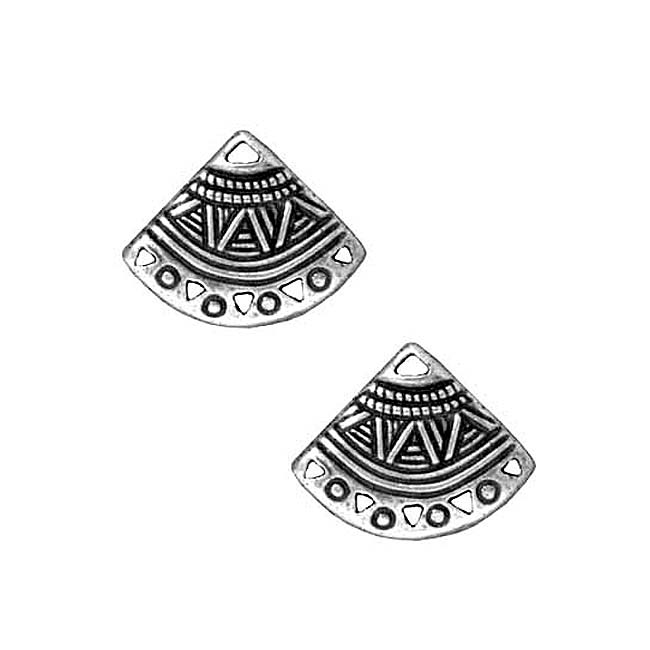 TierraCast Fine Silver Plated Pewter Ethnic Fan Earring Connector 15mm (2)