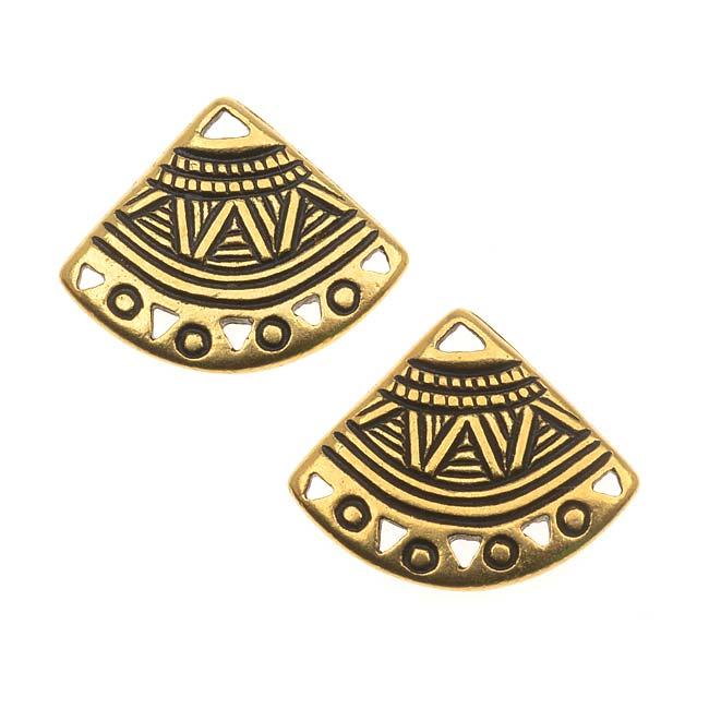 TierraCast 22K Gold Plated Pewter Ethnic Fan Chandelier Earrings 15mm (2)