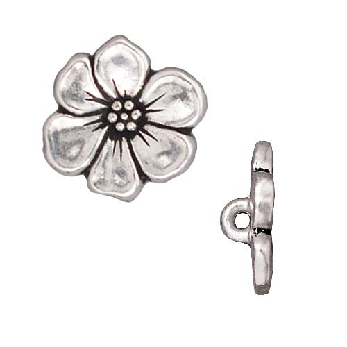 TierraCast Antiqued Silver Plated Lead-Free Pewter Apple Blossom Buttons 15.5mm (2)