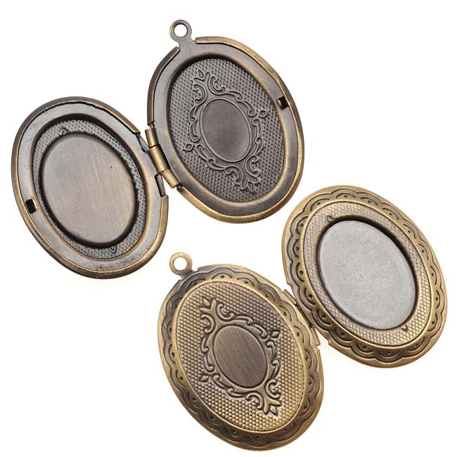 Final Sale - Antiqued Brass Oval Scroll Locket Pendant With Setting For Cabachon 33mm (1)