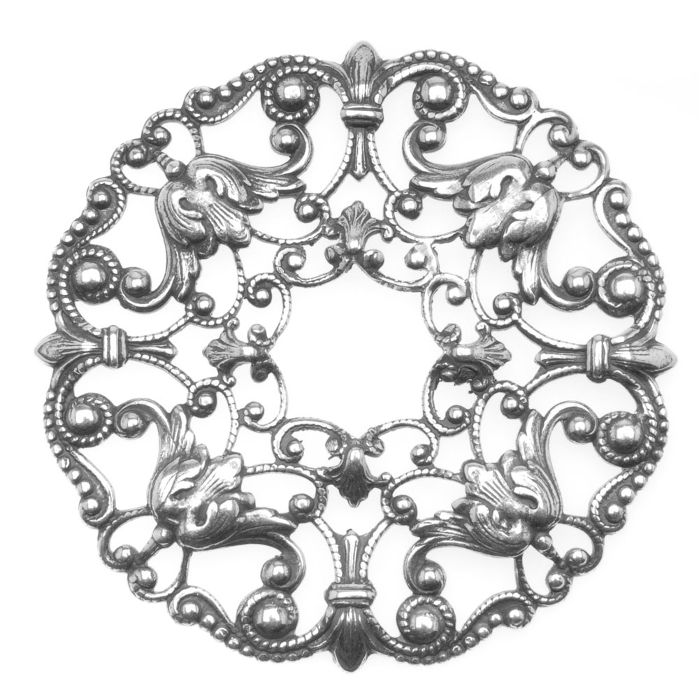 Antiqued Silver Plated Ornate Wreath Filigree Stamping 48mm (1)