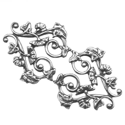 Antiqued Silver Plated Deco Vines Filigree Stamping 56x31mm (1)