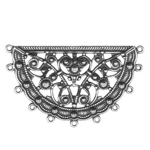 Antiqued Silver Plated Half Circle Looped Filigree Stamping 30x50mm (1)