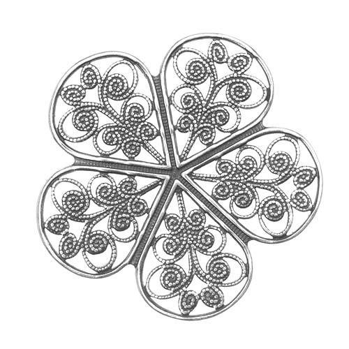 Antiqued Silver Plated Pimpernel Flower Petal Filigree Stamping 36mm (1)