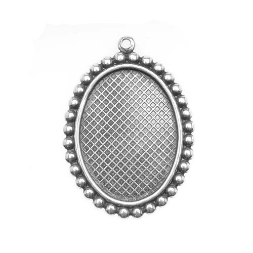 Antiqued Silver Plated 18x25mm Oval Bezel Pendant Beaded Edge (1)