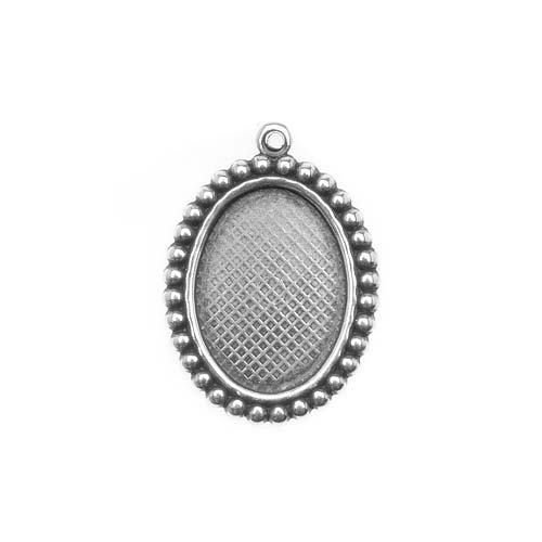 Antiqued Silver Plated 18x13mm Oval Bezel Pendant Beaded Edge (1)